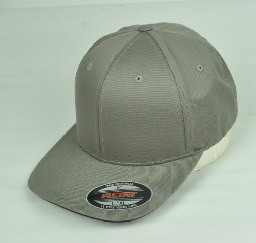 Gray Blank Plain Solid Color Hat Cap Flex Fit Large XLarge Curved Bill Stretch