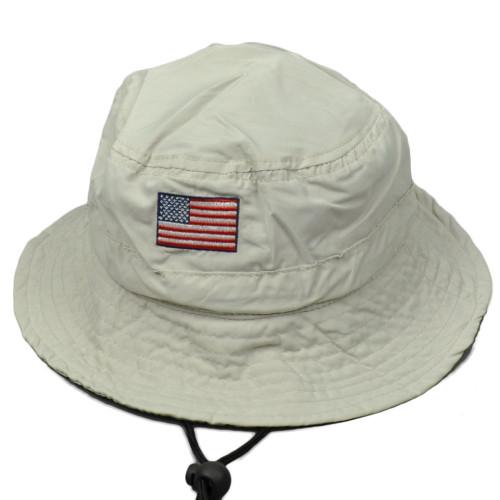 United States Flag Beige Sun Bucket Hat USO United Service Organization Strap