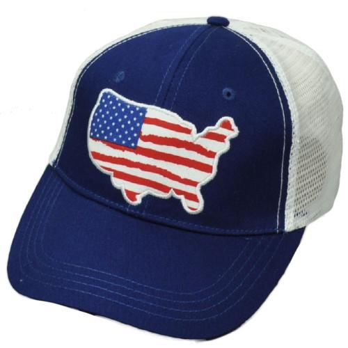 United States Flag Map Navy Mesh USO Service Organization Trucker Hat Cap Merica