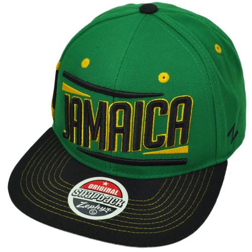 Zephyr Victory Jamaica Country Flag Green Black Flat Bill Snapback Hat Cap