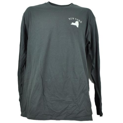 New York NY Map Gray Long Sleeve Mens Adult Tshirt Tee Crew Neck Black Bear