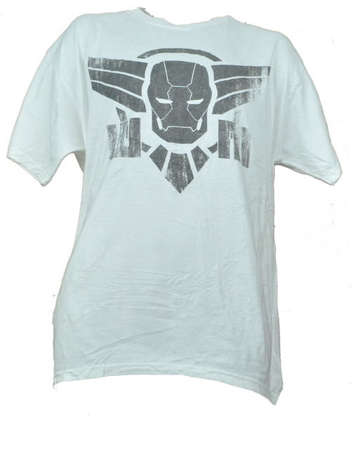Iron Man Graphic White Mens Adult Tshirt Tee Super Hero Distressed Short Sleeve