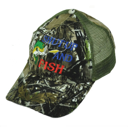 Shut Up And Fish Leaf Camouflage Camo Mesh Adjustable Hat Cap Fishing Bass Camp