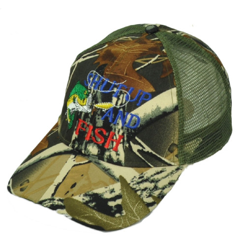 Shut Up And Fish Leaf Camouflage Camo Mesh Adjustable Hat Cap Fishing Bass Hook