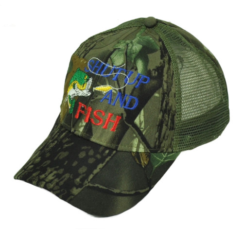 Shut Up And Fish Camouflage Camo Mesh Adjustable Hat Cap Outdoor Fishing Bass