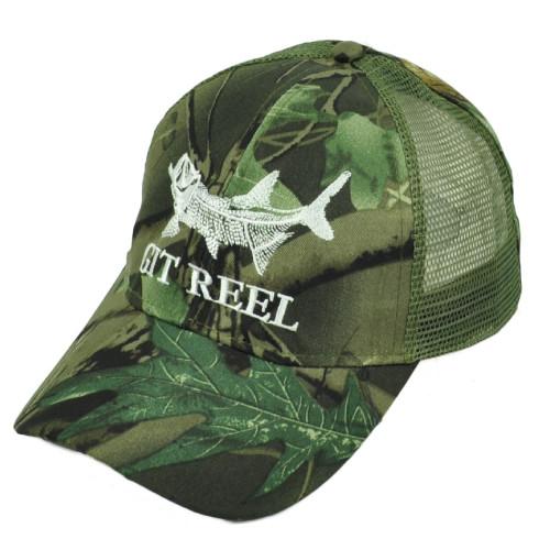 Git Reel Fish Fishing Sport Green Camouflage Mesh Camo Leaf Adjustable Hat Cap