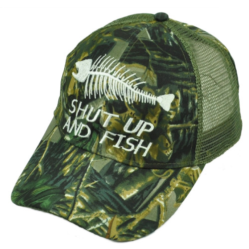 Shut Up and Fish Fishing Green Camouflage Camo Leaf Mesh Adjustable Outdoor Hat