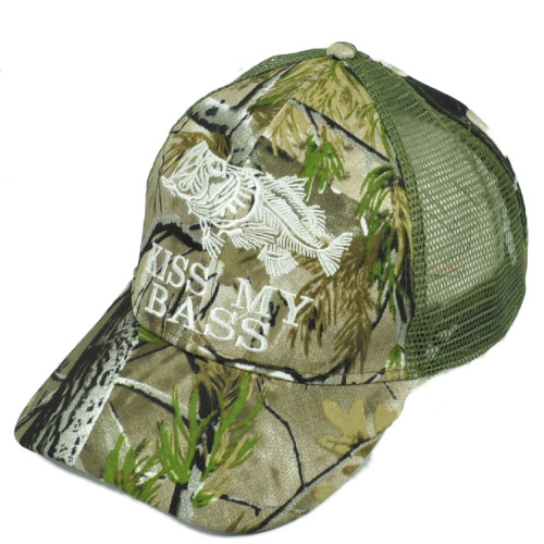 Kiss My Bass Fishing Green Camouflage Camo Leaf Mesh Adjustable Outdoor Hat Cap