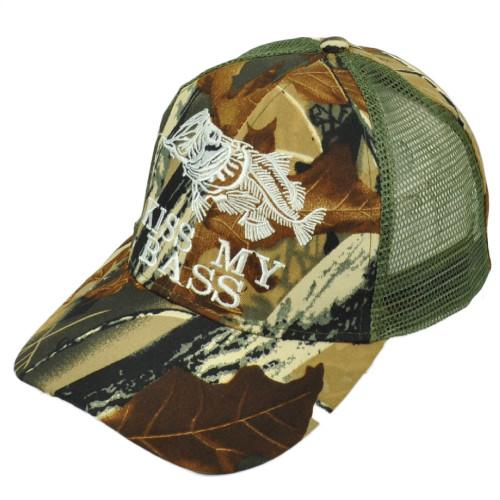 Kiss My Bass Fish Fishing Green Camouflage Camo Mesh Adjustable Outdoor Hat Cap