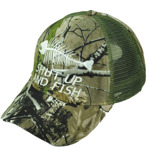 Shut Up And Fish Fishing Green White Camouflage Mesh Adjustable Outdoor Hat Cap