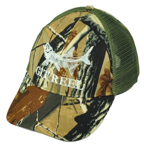 Git Reel Fish Fishing Green Camouflage Camo Mesh Adjustable Outdoor Hat Camp