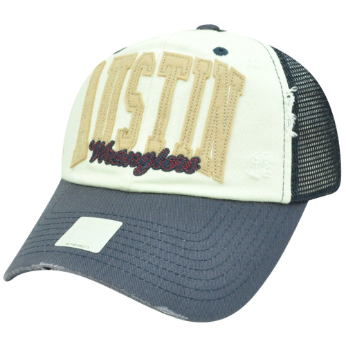 NCAA Austin Wranglers Mesh Garment Wash Distressed Snapback Curved Bill Hat Cap