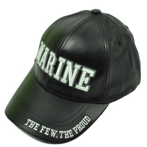 USMC Marine Leather Black Hat Cap The  Few The Proud Military Adjustable U.S