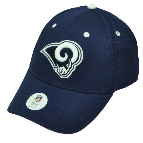 NFL St Louis Rams Navy Blue White Hat Cap Adjustable Game Day Curved Bill