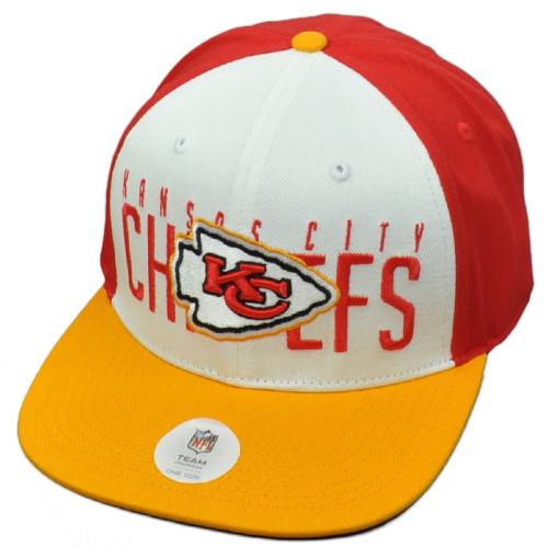NFL Kansas City Chiefs KC Red White Flat Bill Snapback Hat Cap Constructed