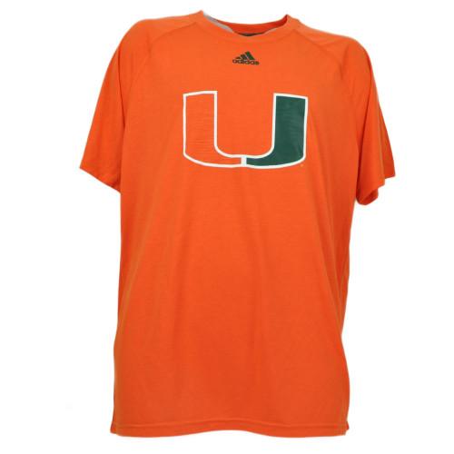 NCAA Adidas Miami Hurricanes Mens Tshirt Tee Orange Large Mens Canes Jumbo Logo