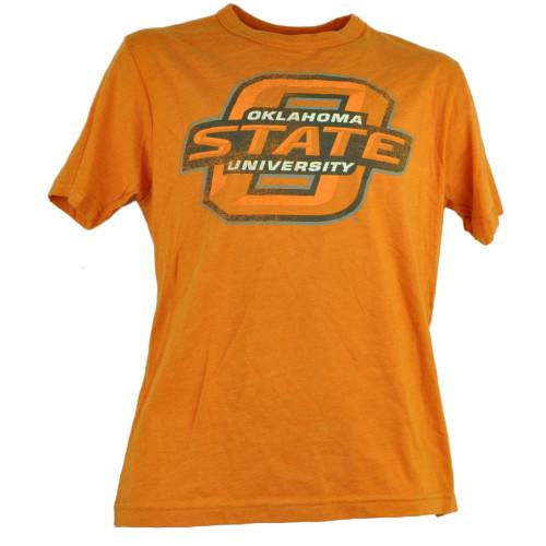 NCAA Oklahoma State Cowboys Orange Distressed Mens Small Tshirt Tee Short Sleeve