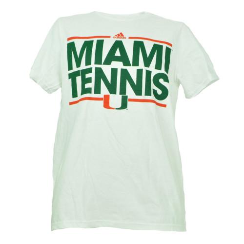 NCAA Adidas Miami Hurricanes Tennis Mens Tshirt Tee Small Short Sleeve White