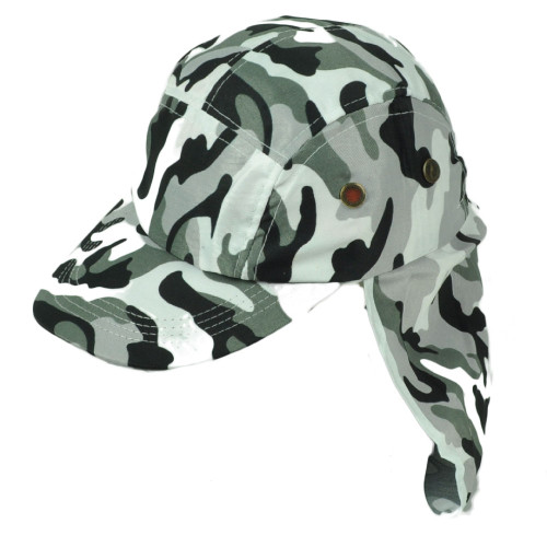 Black White Camouflage Camo Sun Neck Shade 23 inch Outdoor Hat Cap Curved Bill