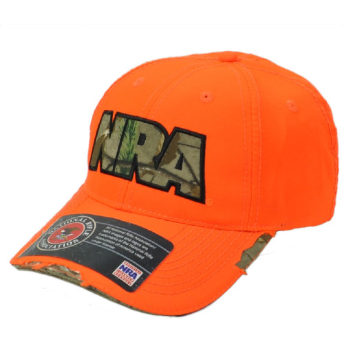 US National Riffle Association NRA Orange Distress Realtree Camo Hat Cap Gun