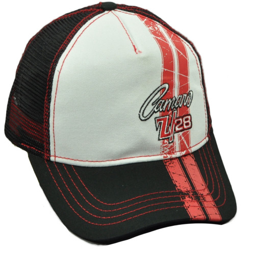a1e8b2eedec Camaro Z 28 Distressed Mesh Snapback Hat Cap Blck General Motors Curved  Bill Red