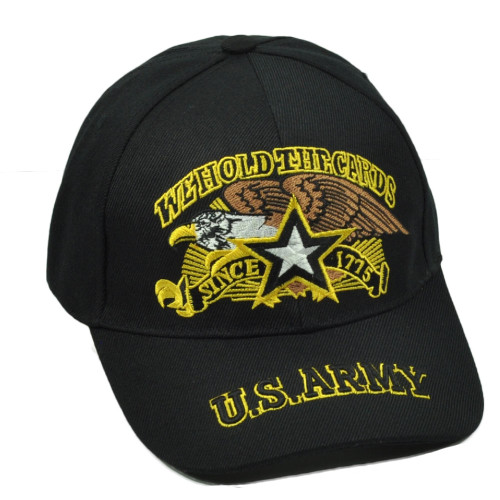 U.S United States Army We Hold The Cards Since 1775 Black Hat Cap Military