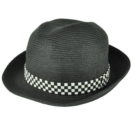 d768069007b3c Black White Paper Straw Round Fedora Checkered Band Medium Large Hat Trilby