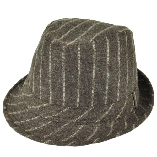 Brown Pin Striped Fedora Gangster Trilby Hat 58cm Wool Diamond Top Stetson