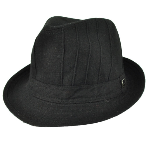 Ole Fedora Black Wool Diamond Top Gangster Trilby Hat Brand One Size Fits Most