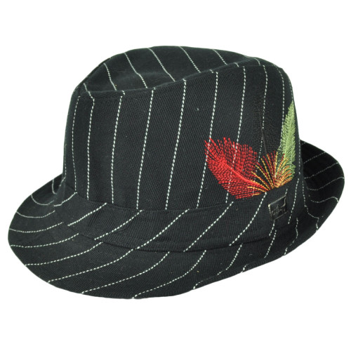 Fedora Black White Pin Stripes Ole Feather One Size Fits Most Trilby Gangster Hat