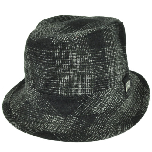 Ole Fedora Black Gray Plaid Pattern Gangster Trilby Hat Brand One Size Fits Most