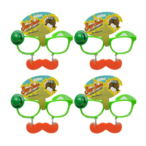 Sun Staches Green St Patricks Day Saint Pattys Lucky Mustache Glasses Set of 4