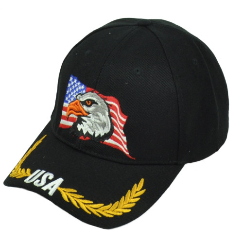 United States USA Flag Country Eagle Hat Cap Adjustable Curved Bill Pride Black