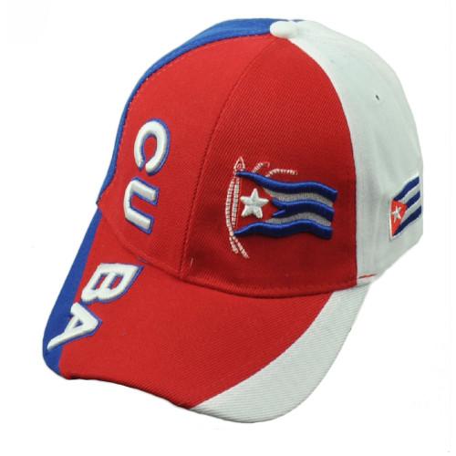 Cuba Cuban Flag Island Caribbean Island Red Hat Cap Adjustable Curved Bill