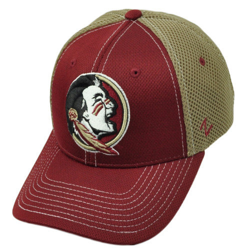 cae816ccd6f53 NCAA Zephyr Florida State Seminoles Flex Fit Youth Kids Beig Jersey Mesh Hat  Cap