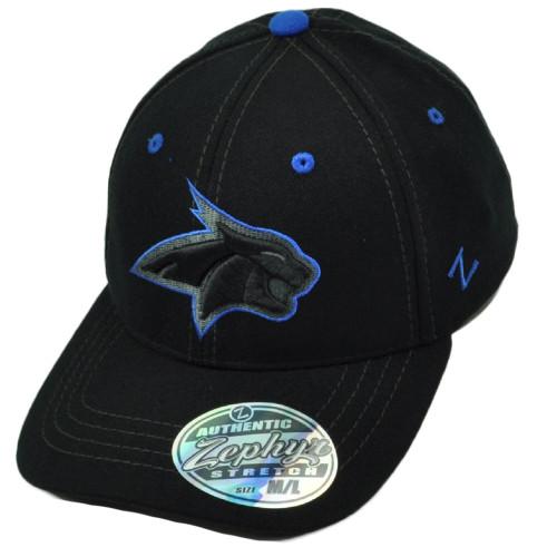 NCAA Zephyr Montana State Bobcats Flex Fit Medium Large Stretch Hat Cap Black