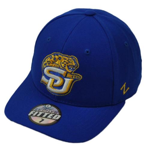 wholesale dealer cdda5 1eda9 NCAA Original Zephyr Southern Jaguars Fitted Size Blue Hat Cap Curved Bill  SJ