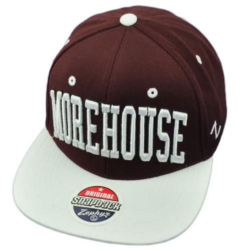 eef372f883e NCAA AACA Morehouse Maroon Tigers Flat Bill Snapback Hat Cap Burgundy White