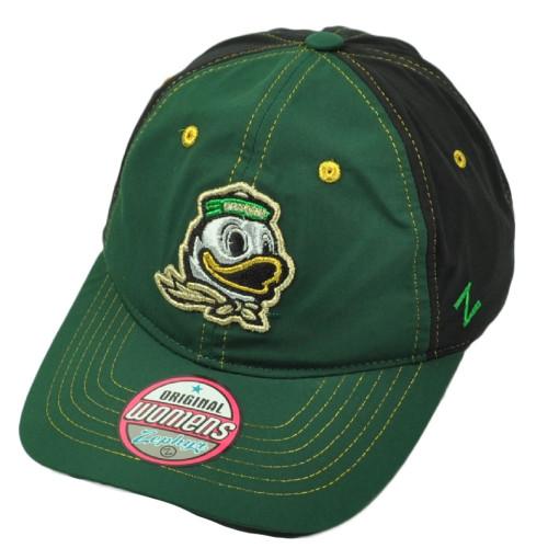 NCAA Zephyr Oregon Ducks Womens Hat Cap Two Tone Green Adjustable Curved Bill