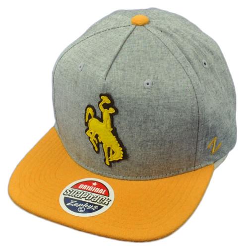 quality design 9b384 82e0f NCAA Zephyr Wyoming Cowboys Gray Yellow Flat Bill Snapback Hat Cap  Adjustable