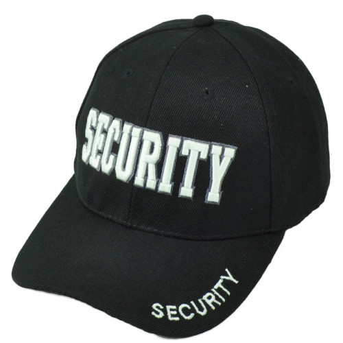 Security Guard Law Officer Bodyguard Velcro Constructed Black White Hat Cap