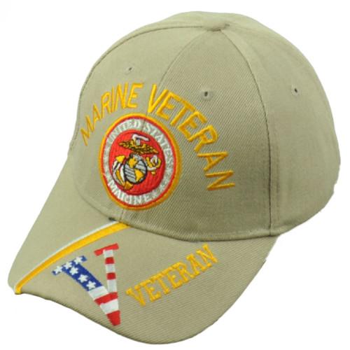 U.S United States Marine Veteran Striped Visor Adjustable Khaki Hat Cap USMC