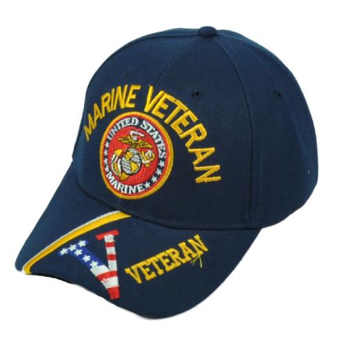 U.S United States Marine Veteran Striped Visor Adjustable Navy Blue Hat Cap