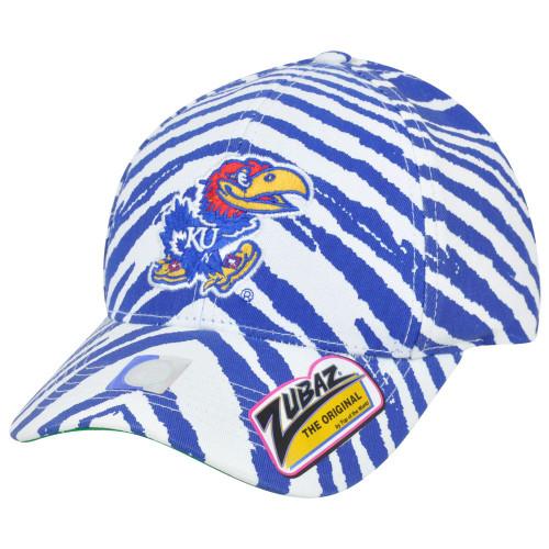 NCAA Kansas Jayhawks Top of the World Smash Zubaz Zebra Stripes Snapback Hat Cap