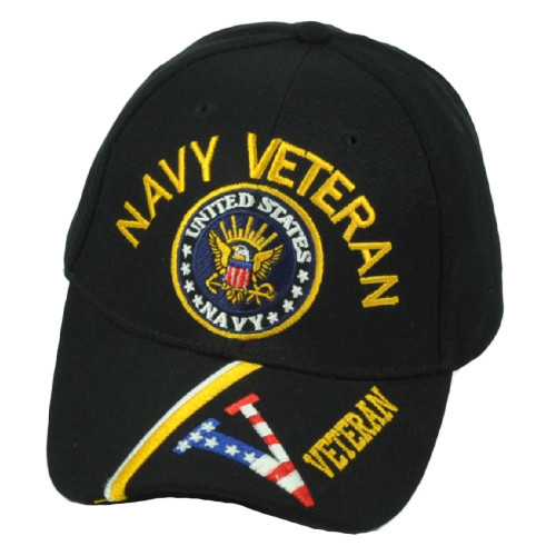 U.S United States Navy Veteran Striped Visor Adjustable Curved Bill Blck Hat Cap