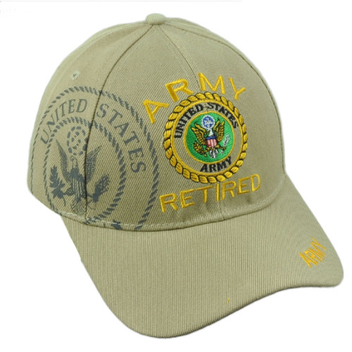 U.S United States Army Retired Military Service Khaki Hat Cap Adjustable Troops