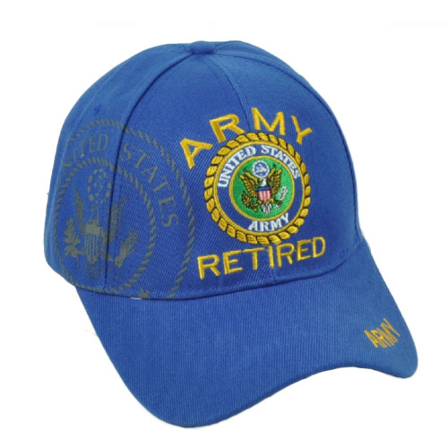 U.S United States Army Retired Military Service Royal Blue Hat Cap Adjustable