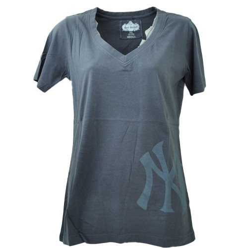 Red Jacket New York Yankees Distressed Tshirt Tee Small Navy Blue Womens V Neck