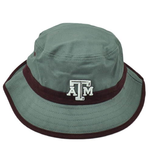 NCAA Zephyr Texas A&M Aggies Bucket Gray Small Medium Chin Strap Hat Sports