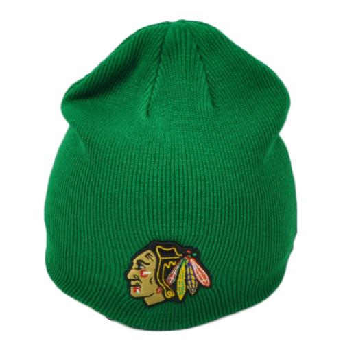 NHL Zephyr Chicago Blackhawks Green Knit Beanie Cuffless Hat Skully Toque